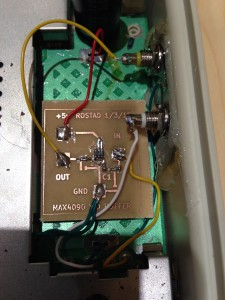 Here's the breakout board installed in the Aquarius.  Fits where the RF modulator was.